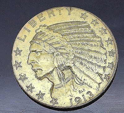 1913 Indian Head Half Eagle $5 Five Dollar Us Gold Coin Collectible