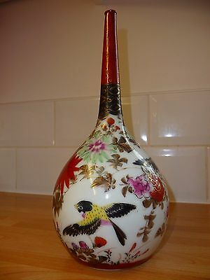 Vintage 19Th C Signed Kutani Japanese Porclain Bottle Bud Vase Long Neck  Paint