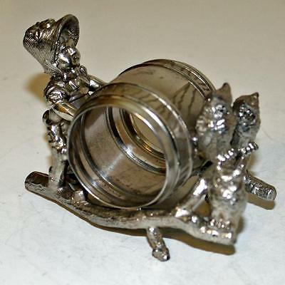 Antique Figural Napkin Ring: Greenaway Girl with Family of Owls- Rare