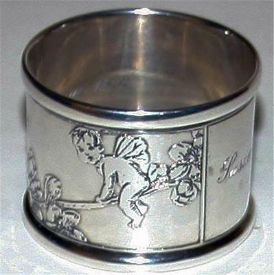Tiffany Antique Sterling Napkin Ring with Fairies -Christmas 1936