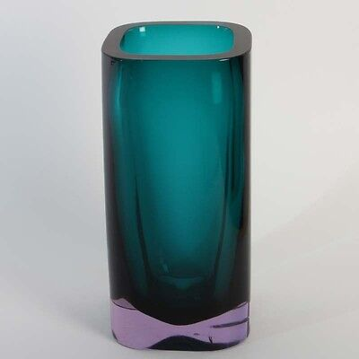 Cenedese Murano Glas 1965 tolle Blockvase sommerso Alexandrite Glas petrol glass