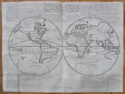 Large Original Engraved Map of the World Australia VOC - 1701