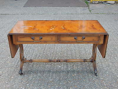 Vintage walnut antique reproduction drop leaf sofa back table with & two drawers