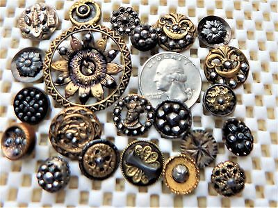 Very Old Lot of 22 Antique Victorian Many Steel Cut Metal Vintage Buttons