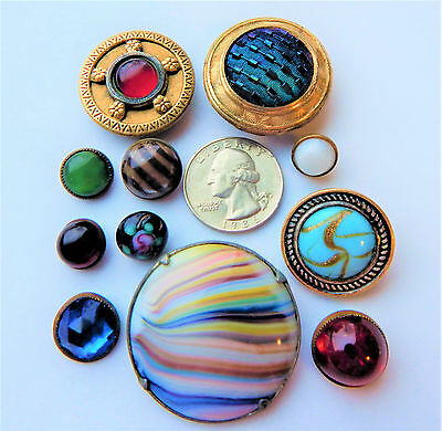 Gorgeous Old Lot Metal Jewel or Glass Center Antique Victorian Vintage Buttons