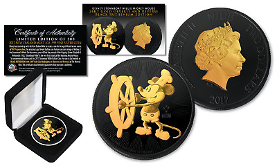 2017 Niue NZM 1oz  SILVER Mickey Mouse DISNEY Willie BLACK RUTHENIUM & 24KT Gold