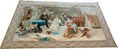 Antique Tapestry With Original Painting on Velvet