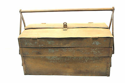 Vintage Steampunk USA Plumbers Part Metal Tool Box Mechanical Self Closing Chest