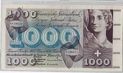 Switzerland 1000 Francs 10.2.1971 Allegory of Death Pick# 52j in holder