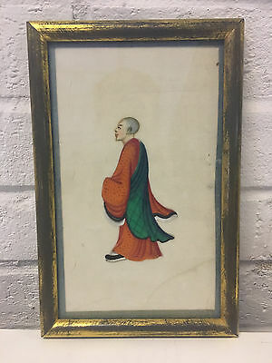 Antique Chinese Pith Rice Paper Painting of Boy / Man in a Green & Red Robe