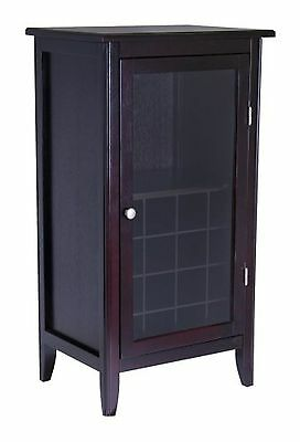 Winsome Wood Wine Cabinet with Glass Door Espresso