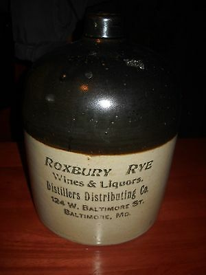 Roxbury Rye 124 Baltimore Maryland Stoneware Crock Whiskey Jug Distillers Dist.