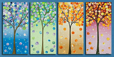 Colourful Trees Hand Painted Abstract Oil Set Of 4 (On Frames) Framed Wall Art