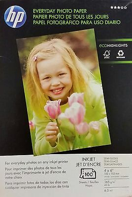 "BRAND NEW HP Everyday Photo Paper - Semi Gloss - 4"" X 6"" - 100 Sheets - 8 Pack"
