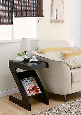 Furniture of America Sana Z-Shape End Table with Magazine Rack Cappuccino Fin...