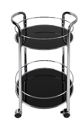 Dar Bar Cart Round in Black Bar Furniture