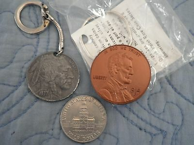 2 Vintage Coin Key Chain Lot: 1937 Buffalo Nickel & 1914-D Lincoln Wheat Penny