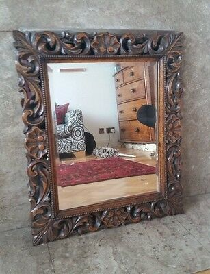 lovely antique wall mirror carved wood frame original bevelled glass Victorian