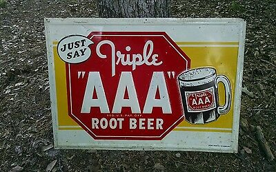 Advertising Sign Vintage Root Beer  AAA Triple A Root Beer  Sign Stout Co