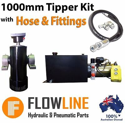 Hydraulic Ram Cylinder with Hydraulic Power pack - Tipper Trailer Kit- 1000 mm