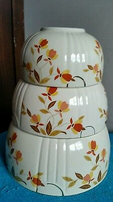 Hall's Autumn Leaf 3 Piece Mixing Bowl Set Superior Quality Kitchenware Dishes