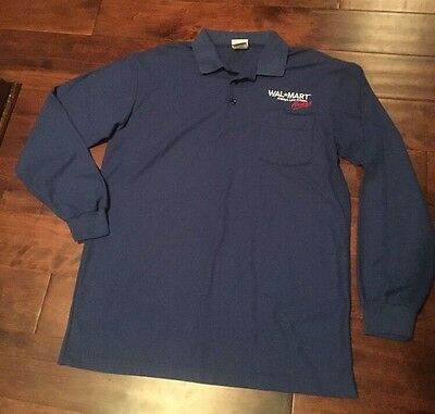 Walmart Employee Uniform Long Sleeve Shirt Polo Vintage USA MADE Men's Large