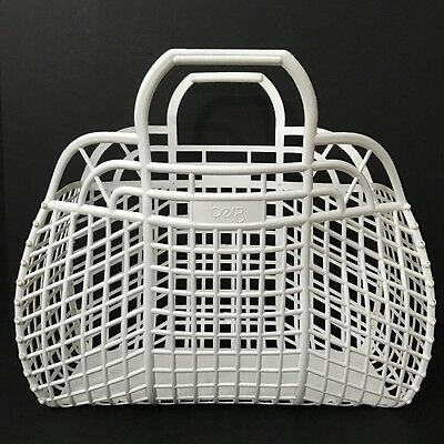 Vintage Retro White Plastic Basket Shopping Market Grocery Beach Bag Berg
