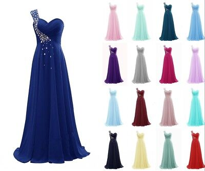 Long Beads Chiffon Bridesmaid Dresses One Shoulder Wedding Party Prom Gown