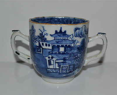 18th/19th C Antique Chinese Blue and White Canton Nanking Porcelain Handled Cup