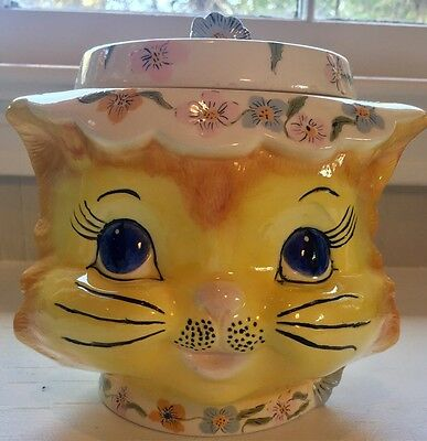 Sweet Beautiful VTG COOKIE JAR 1950s Enesco KITTY CAT Vintage Canister