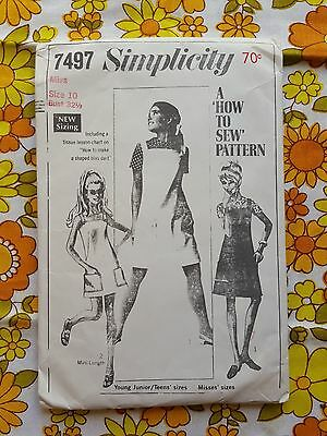 SIMPLICITY 7497 sewing pattern CHECKED / COMPLETE 1960S vintage retro MISS DRESS