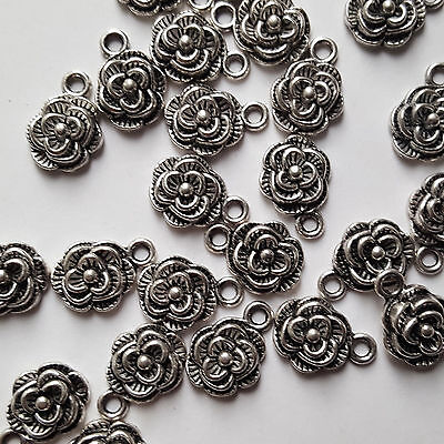 10 x Antique Silver Rose Charms Flower Small Charms 14x10mm