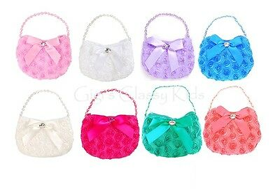 New Small Rosette Rose Accented Purse Handbag Flower Girl Princess Pageant Gift