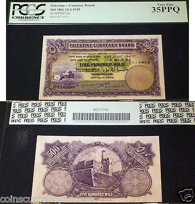 Israel, Palestine Currency Board, 500 Mils, 1939, Pcgs 35 Ppq.beautiful Banknote