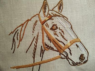 Wonderful Horse in Bridle ~  Vintage Hand Embroidered Doily
