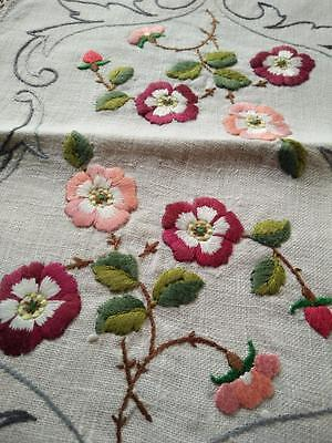 Gorgeous Briar Roses  ~ Vintage Heavily Raised Hand Embroidered Centrepiece/mat