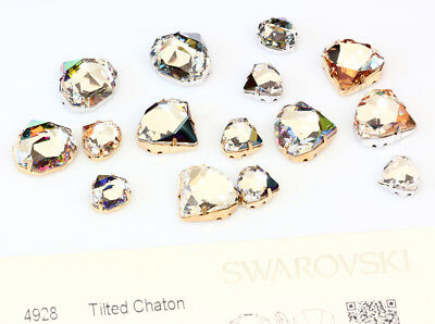 Genuine SWAROVSKI 4928 Tilted Chaton Fancy Crystals with Sew On Metal Settings
