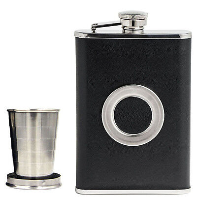 8 OZ Whiskey Alcohol Liquor Black Hip Flask Flagon Wine Bottle Wine Pot