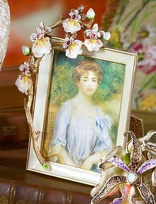 JAY STRONGWATER PICTURE Kelsey Orchid FRAME Flora |14K gold Antique Finish - NEW