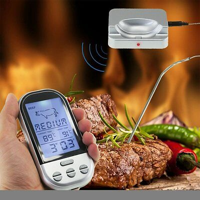 Wireless LCD Remote Thermometer For BBQ Grill Meat Kitchen Oven Food Cooking VP