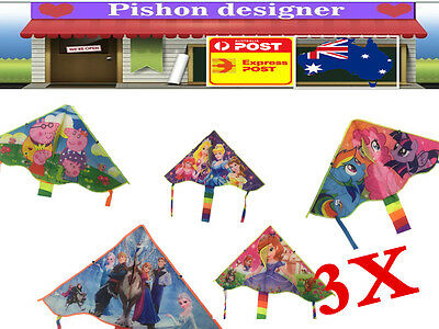 3x Cartoon Kites Long Tail 140x100cm Line Outdoor Sport for Kids Children