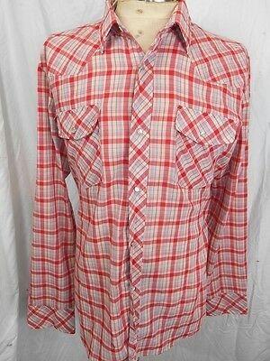Vintage 70s Red White Blue Plaid Poly/Cotton Ambassador Western Shirt Snaps L