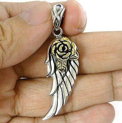 Rose Angel Bird Wing Lover Solid Sterling 925 Silver Pendant