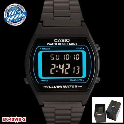CASIO B640WB-2 Classic Digital Watch Stainless Steel Band  7 Years Battery