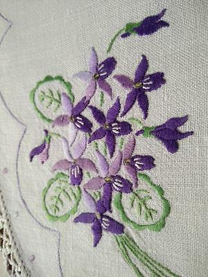 Sweet Purple toned Violet posies ~ Vintage Hand Embroidered Centrepiece/mat