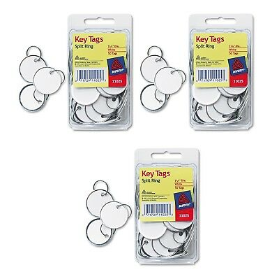 "Avery Metal Rim Key Tags Card Stock/Metal, 1-1/4"" Diameter White 50 Tags New"