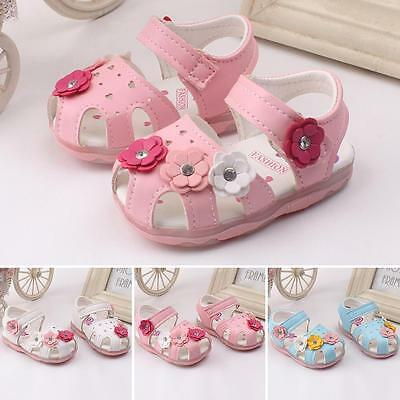 Popular Baby Girl Floral Kids Sandals Skidproof Toddlers LED Summer Light Shoes
