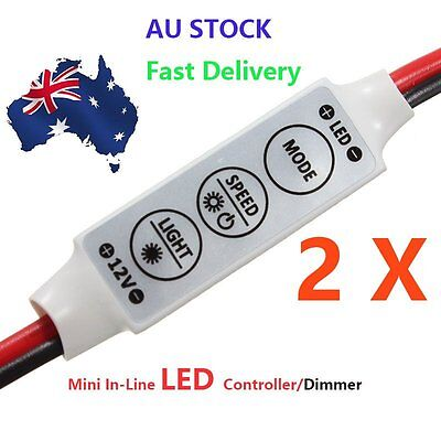 2X12V Mini Inline  Led Strip Light Dimmer Controller On Off Switch For 3528 5050