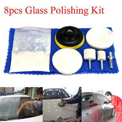 "8Pcs Glass Scrach Remover 70g Cerium Oxide Polishing Kit w/ 3"" Wheel + 2"" Pad"