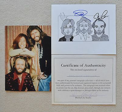 Bee Gees Caricaturist Signed AUTOGRAPH COA + Photo Robin Barry Maurice Gibb